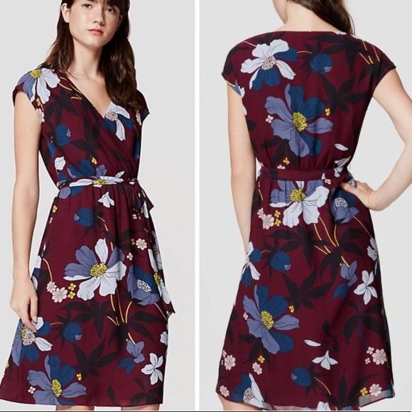 bacd327b0f LOFT Floral Wrap Dress